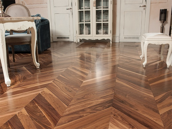 Walnut  UV Oiled Chevron Flooring